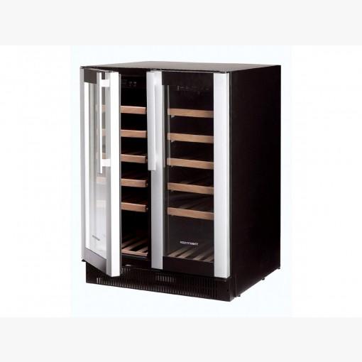 vinkøleskab med 2 temperaturzoner - sort